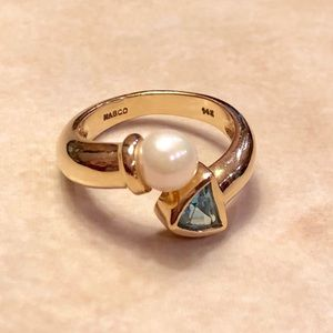 14K Yellow Gold Vintage Blue Topaz and Pearl Ring